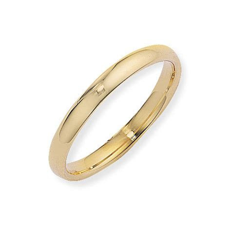9ct yellow gold d shape wedding ring 3mm