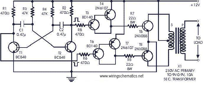 12v Dc To 220v Ac Inverter Circuit Diagram