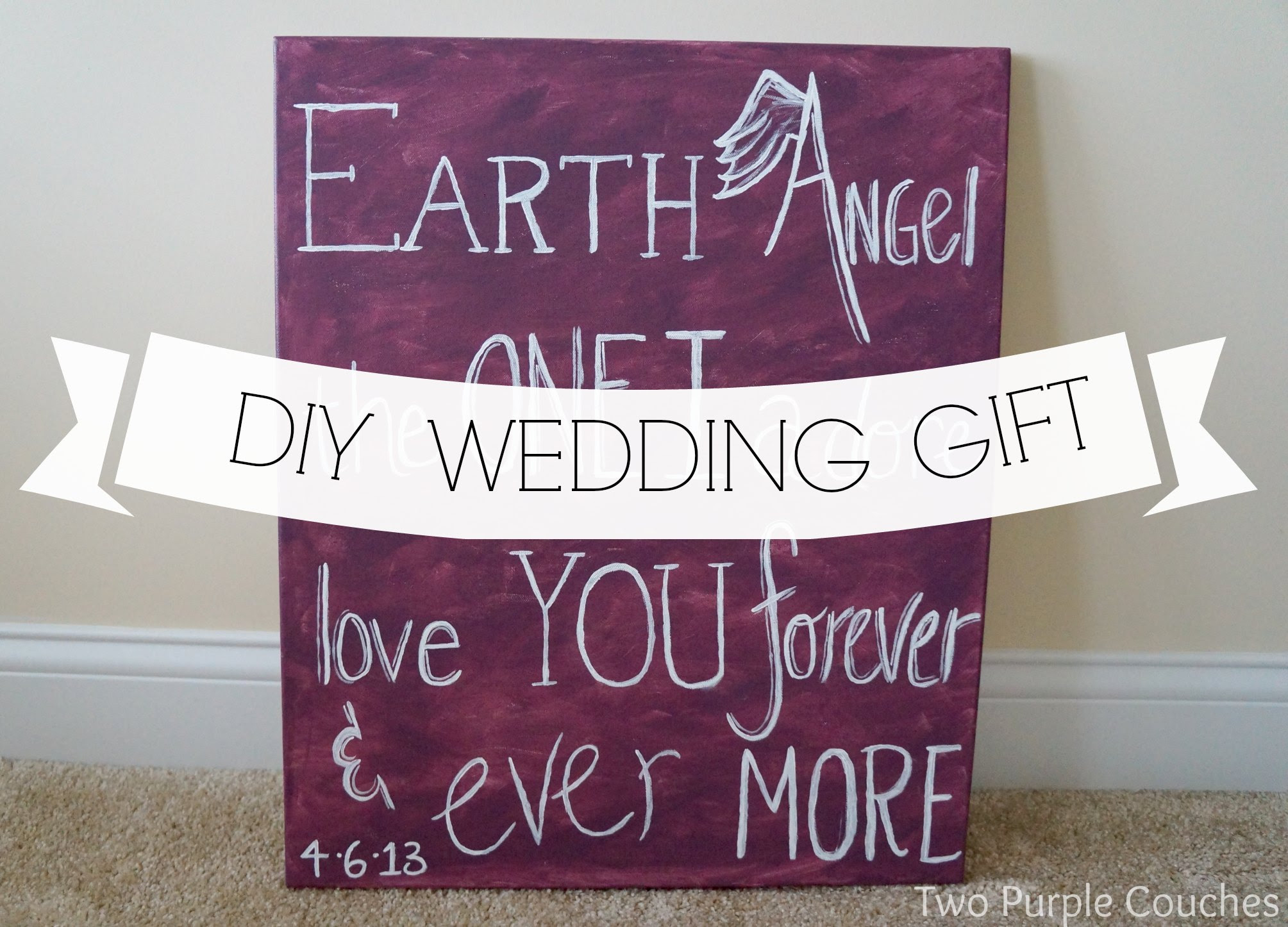 Diy Wedding Gift Lyrics On Canvas Two Purple Couches