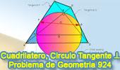 Problema de Geometría 924 (English ESL): Cuadrilátero, Diagonal, Perpendicular, Punto Medio,  Circunferencia, Tangente, Relaciones Métricas