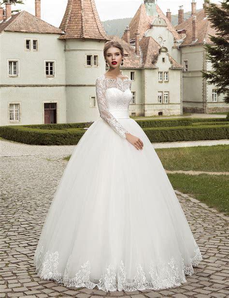 2016 Elegant Long Sleeve Wedding Dress Ball Gown Garden