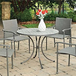 """Home Styles Umbria 39"""" Round Concrete Tile Patio Dining Table in Gray - 5680-30"""