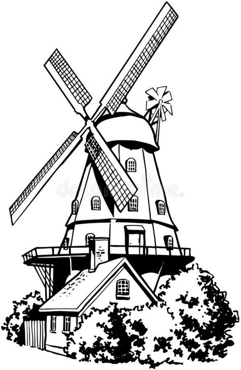 Windmill Cartoon Vector Clipart Stock Vector