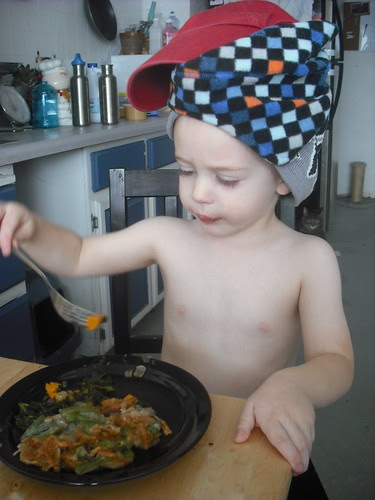 Oliver w/ Green Bean Casserole and Kale & Sweet Potatoes