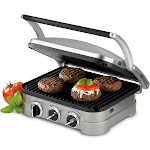 Cuisinart Griddler Countertop Grill, Brushed Stainless Steel GR-4N