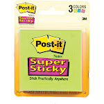"Post-It Super Sticky Note Pad, 3"" x 3"" - 3 pack, 45 sheets each"