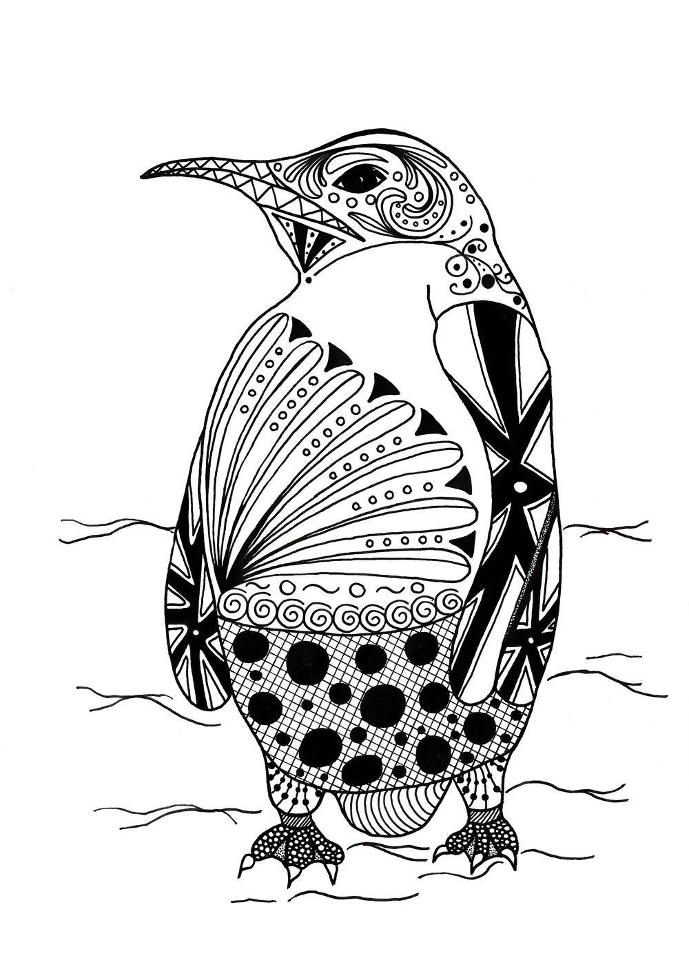 Intricate Penguin Adult Coloring Page | FaveCrafts.com