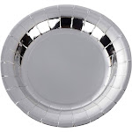 48-Count Metallic Silver Foil Paper Disposable Plates for Birthday Party, 7-Inch, Multicolor(Acrylic, Holiday)