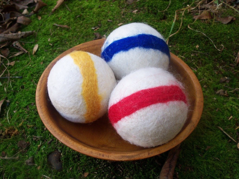 Felted wool ball set - waldorft toy - PRIMARY STRIPES - FREE SHIP
