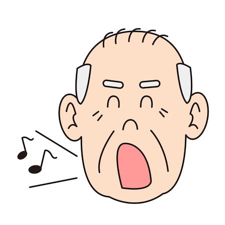 歌っているおじいさん顔パーツ高齢者イラスト