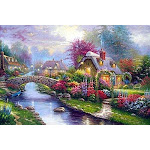 5D Diamond Painting Kit Full Drills, Spring Landscape DIY Embroidery Cross Stitch Rhinestone Mosaic Painting Decor Full Square Drills, 60x80cm