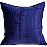 Parkland Collection Augusta Transitional Royal Blue Solid Quilted Pillow Cover With Down Insert