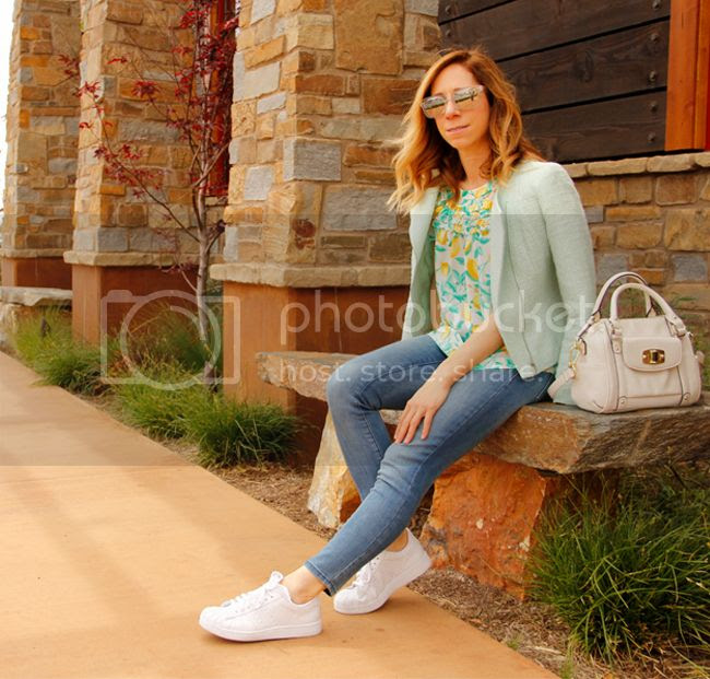 Fashion blogger The Key To Chic wears an Elle lemon print ruffle blouse, Old Navy Rockstar jeans, and Adidas Superstar 2 sneakers