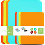Simply Genius (8 Pack) Plastic Cutting Board Set for Kitchen Prep, Flexible Non Slip