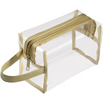 Zodaca Hanging Cosmetic Makeup Clear PVC Travel Wash Bag Holder Organizer Pouch - Gold