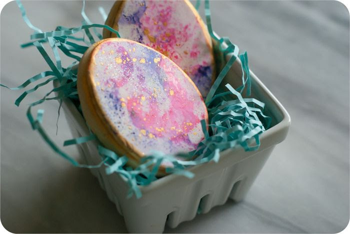 watercolor gold-speckled easter egg decorated cookies