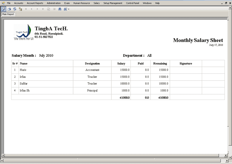 salary sheet template 1