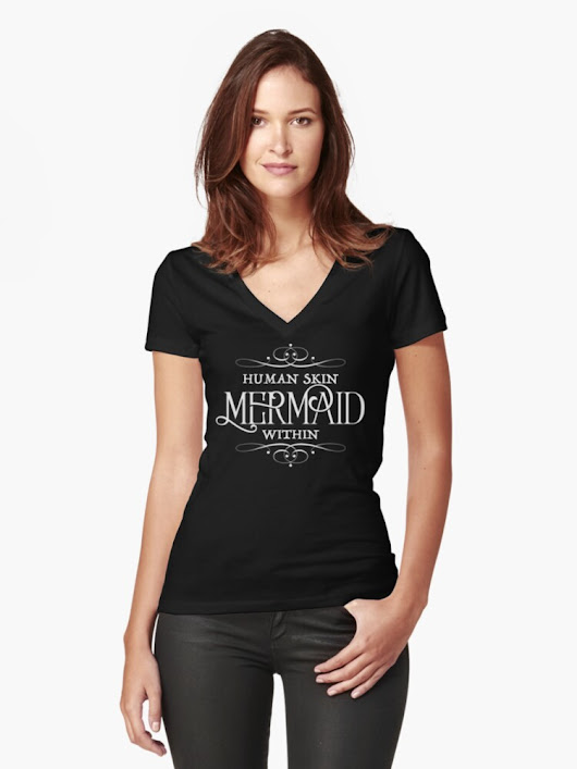 'Human Skin, Mermaid Within' Women's Fitted V-Neck T-Shirt by roguecrusade