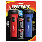 Eveready LED Economy Flashlight, Batteries Included, Red/Blue, 2/Pack (EVEL152S)