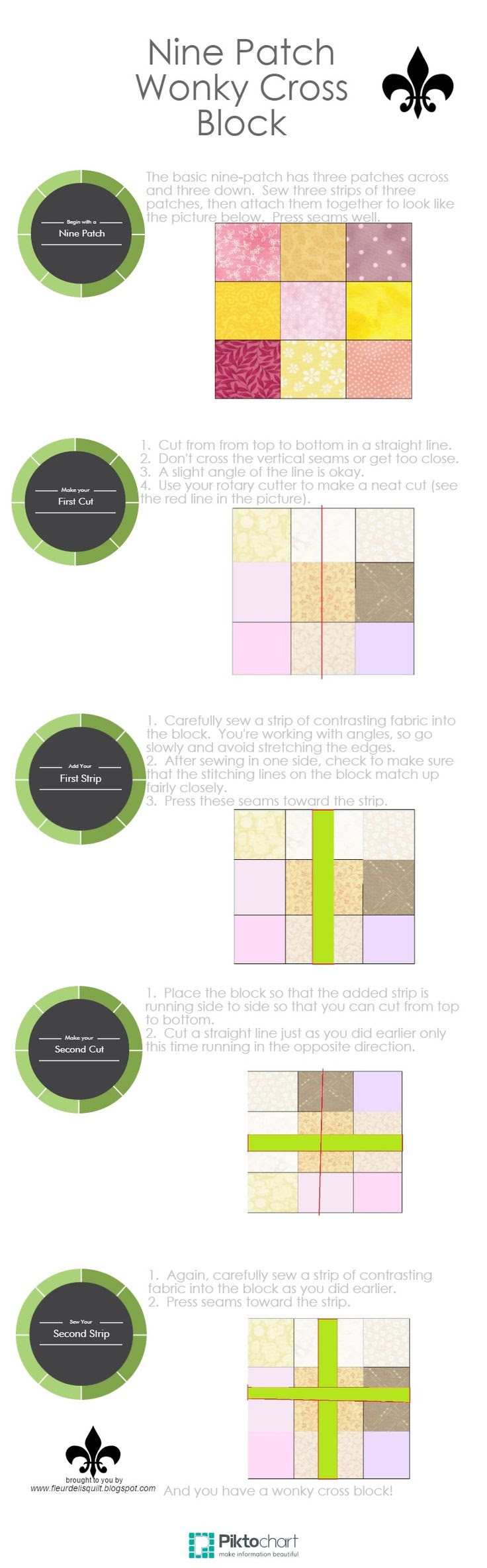 Nine Patch Wonky Cross Block | Piktochart Infographic Editor