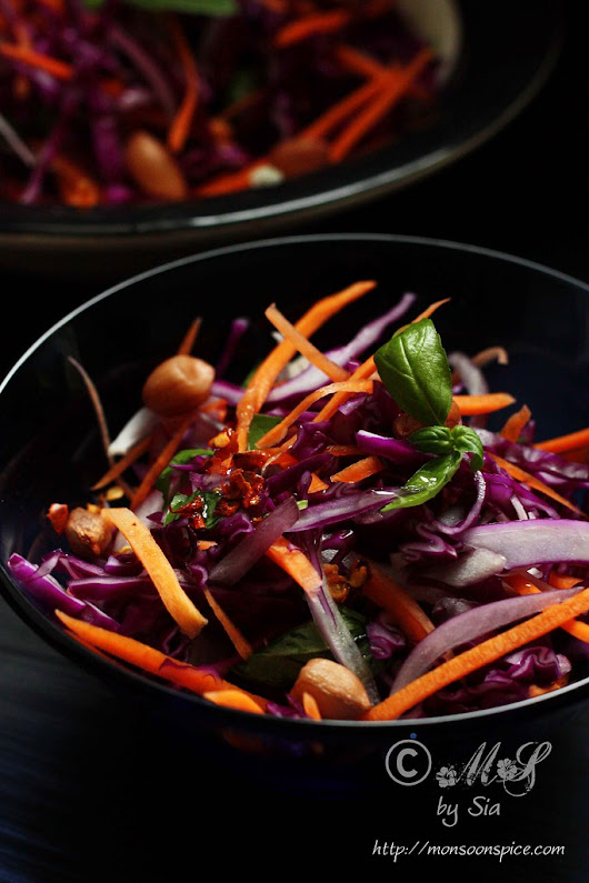Spicy Red Cabbage Slaw or Salad Recipe | Quick and Simple Salad Recipes