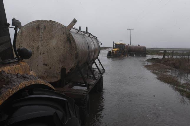 En medio de las inundaciones ir buscar la leche al tambo se convirtió en una tare tediosa. Foto: LA NACION /Santiago Hafford