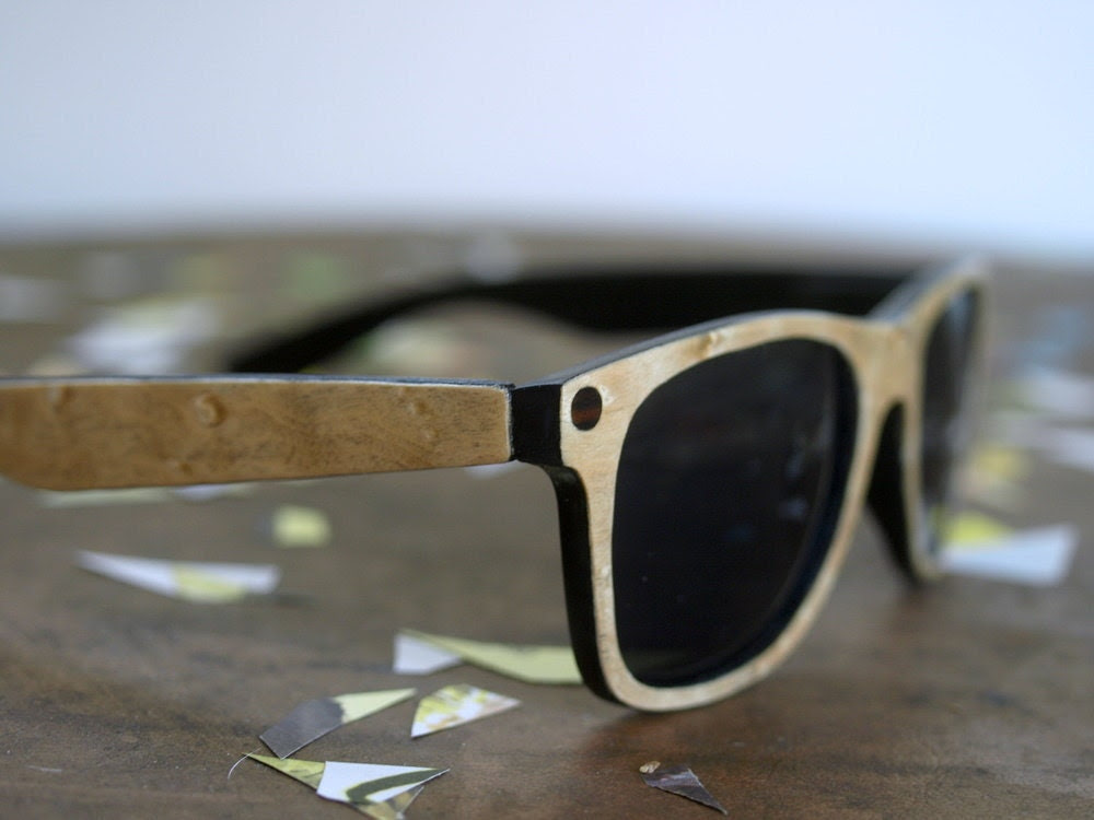 Unisex Birds Eye Maple Wooden Faced Upcycled Sunglasses // no. 70