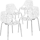 EdgeMod Birds Nest Dining Side Chair - Set of 4, White