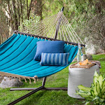 Coral Coast 13 ft. Deep Turquoise Quilted Double Hammock, Blue