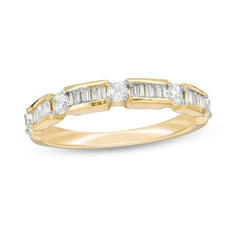 1/2 CT. T.W. Baguette and Round Diamond Alternating