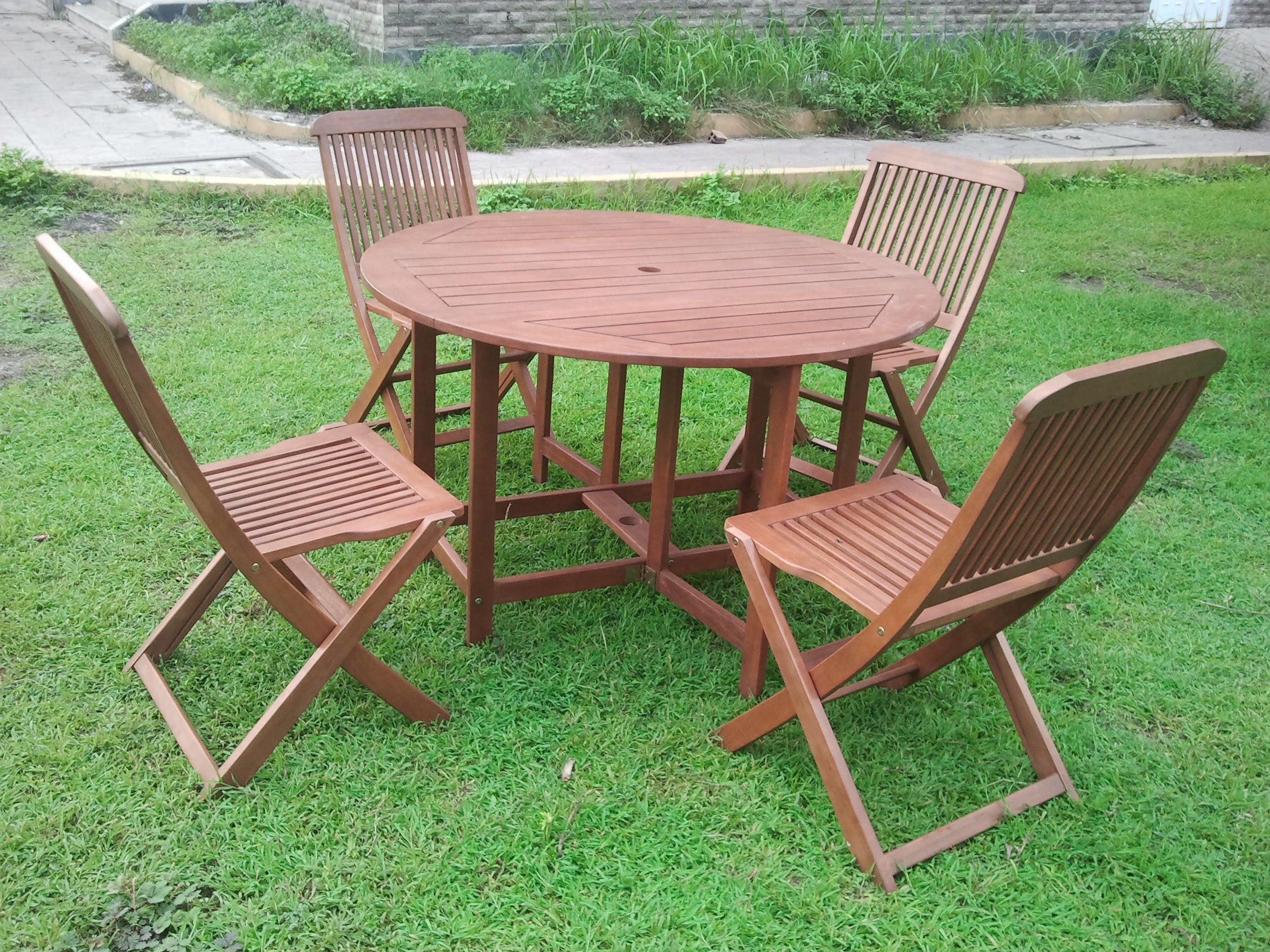 Elegance 4 Seater Folding Round Patio Dining Set - Simply Wood