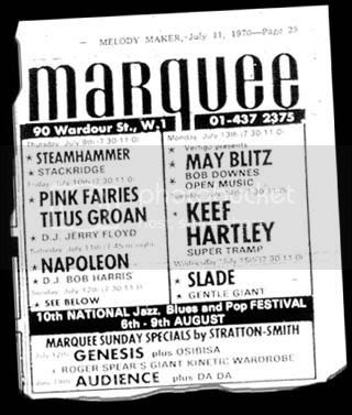 15th July 1970 Marquee large, Melody Maker July 11th 1970 Marquee