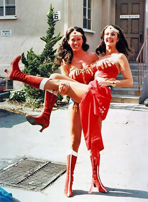 Lynda Carter With Her Wonder Woman Acting Double Jeannie Epper