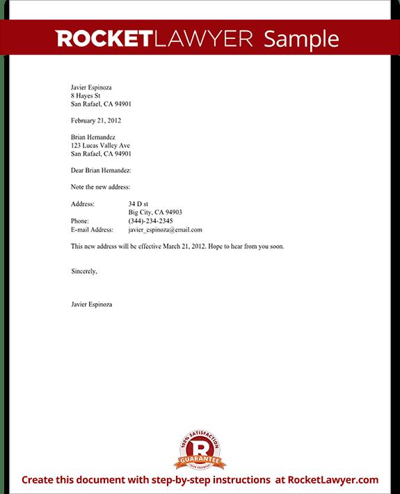 Sample Change of Address Letter Form Template