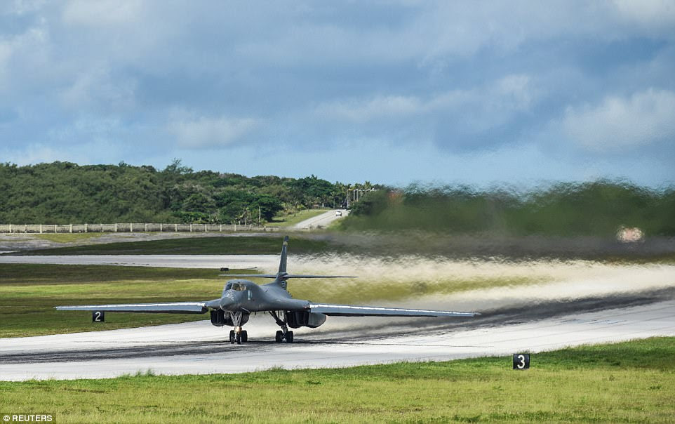 The 10-hour mission from Guam's Andersen Air Force Base (above) took place on Monday and was the first for the aircraft and crews recently deployed from South Dakota's Ellsworth Air Force Base to support U.S. Pacific Command's Continuous Bomber Presence missions