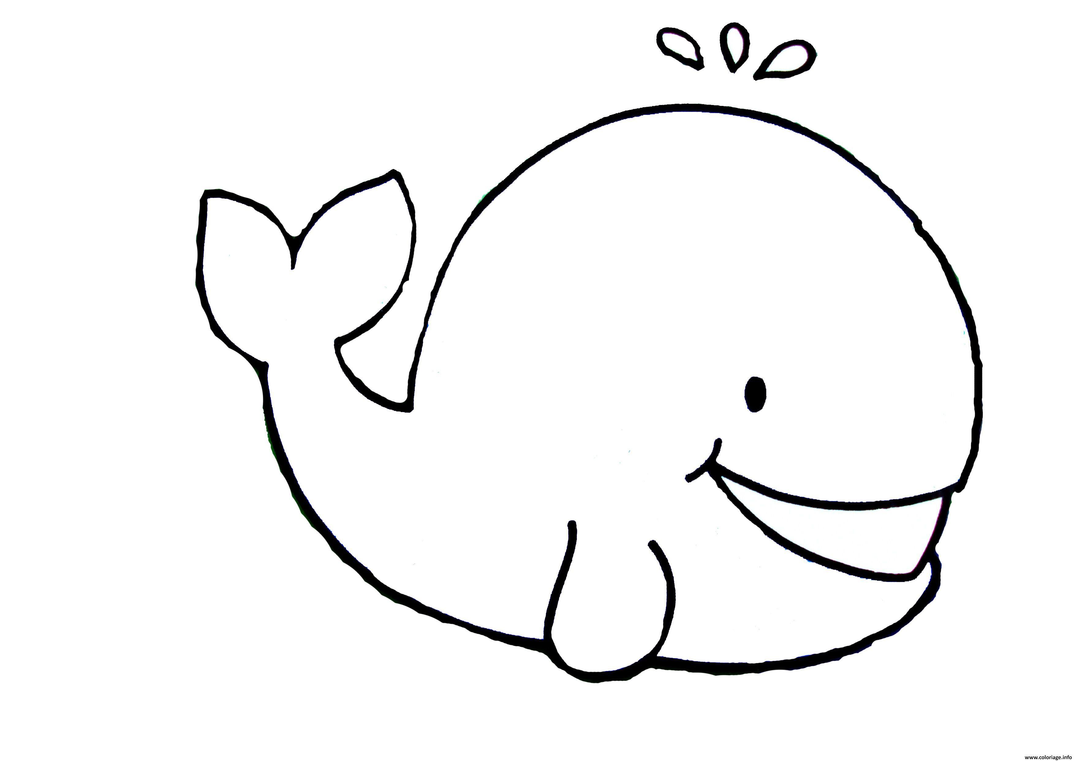 Coloriage Baleine Facile Enfant Maternelle Jecoloriecom