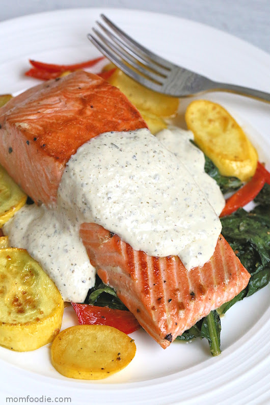 Keto Salmon with Greek Yogurt Cream Sauce, Squash, Peppers and Dandelion - Mom Foodie