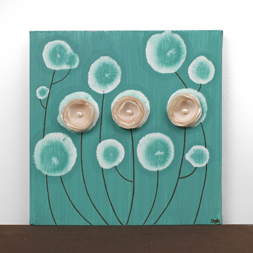 Small Flower Painting Square Canvas Art Khaki and by Amborela