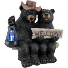 DWK So Happy Together Black Bear Couple Solar Welcome Statue