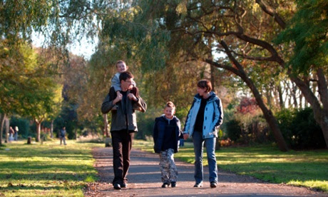 A family on a walk in a UK park.