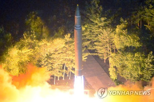 North Korea fires a Hwasong-14 ICBM on July 28, 2017. (For Use Only in the Republic of Korea. No Redistribution) (KCNA-Yonhap)