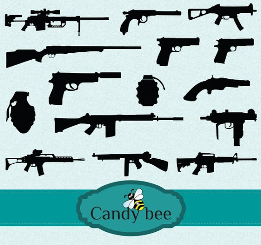 Gun & Weapon Silhouette Digital Clip art by CandyBeeDesigns