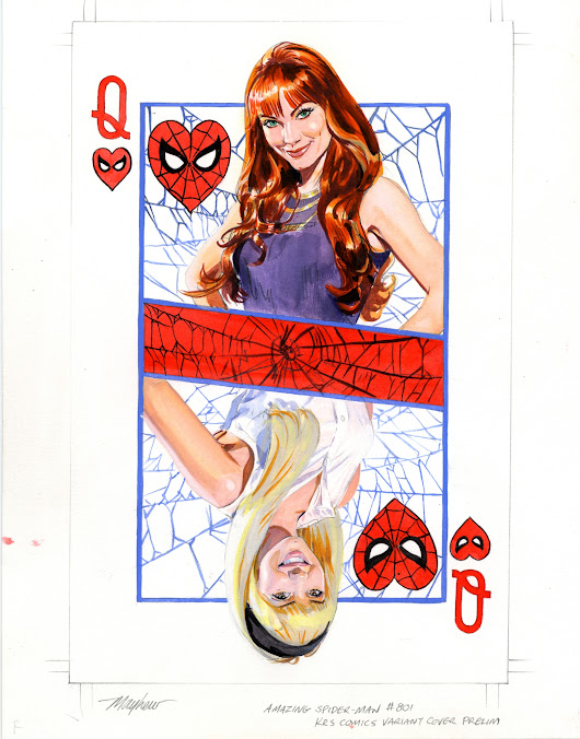 Mike Mayhew Original AMAZING SPIDER-MAN #801 KRS Comics Variant Cover Painted Prelim, in Mike Mayhew's MARVEL COVERS Comic Art Gallery Room