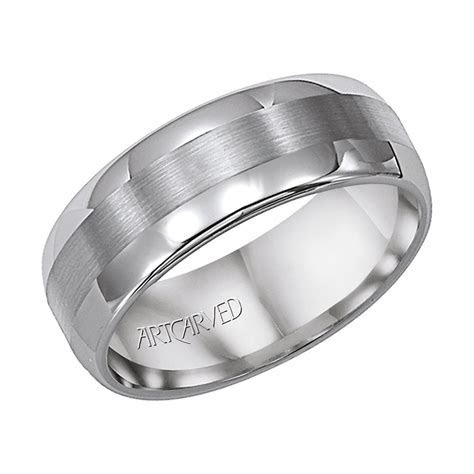 ArtCarved Gray Tungsten Carbide 8mm Satin Finished Inlay
