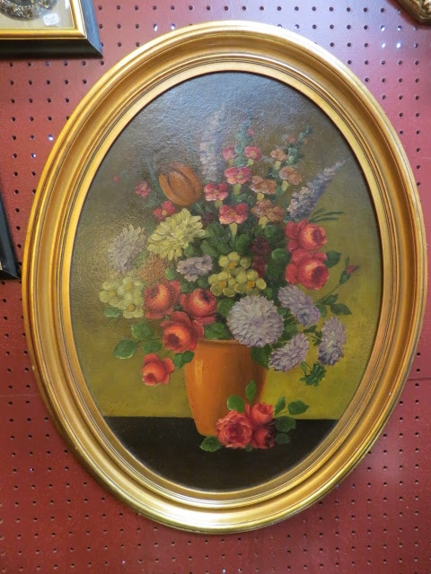 Sale Vintage Antique Oval Frame Oil Painting 102