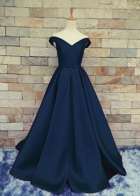 Navy Off Shoulder Evening Prom dresses, A line Long prom dress, Custom Simple prom dress, Cheap prom dress, prom dress 2017, 15039  from OkBridal