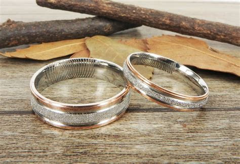 Your Actual Finger Print Rings, Handmade Rose Gold