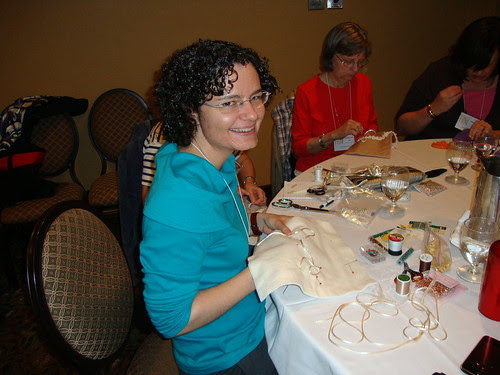 Elizabeth took this picture of me at the embellishment workshop