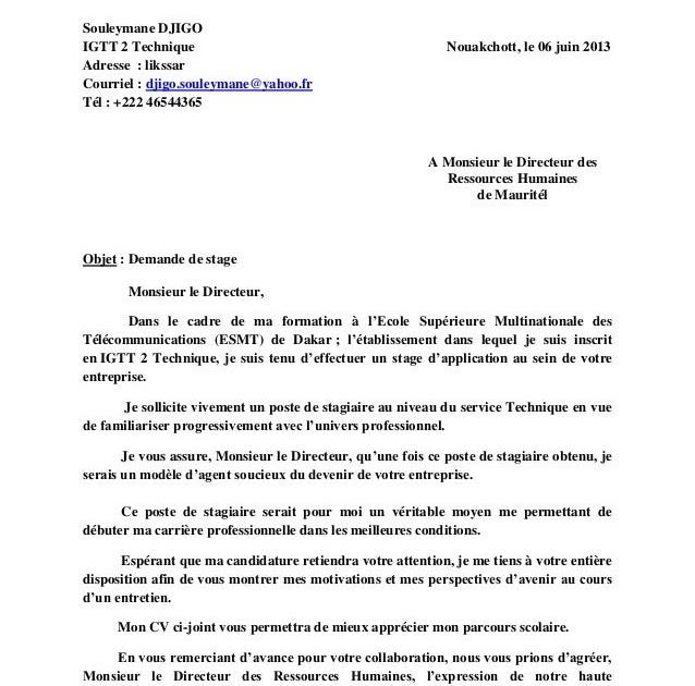 Lettre De Demande De Stage Professionnel Dans Une ...