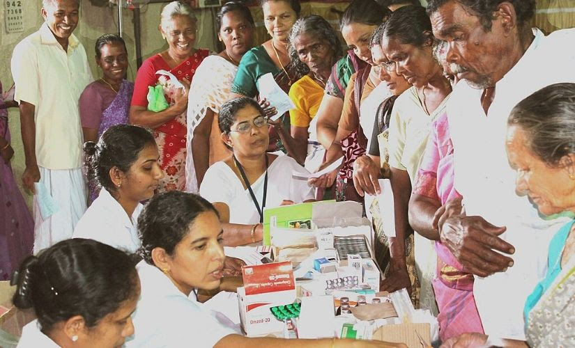 A free medical camp organised as part of the Public Information Campaign on Bharat Nirman, at Piravom, Kerala, in 2012. Wikimedia Commons.